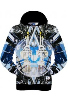Black Blue Futuristic Space Robot Long Sleeves Mens Jacket Hooded Hoodies