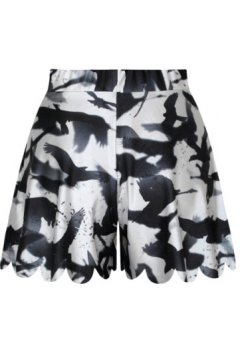 GrabMyLook White Black Birds Swallow Skirt Shorts Hot Pants