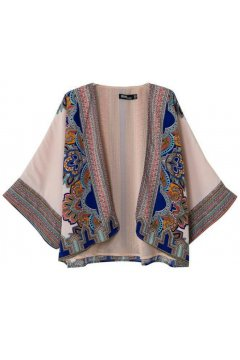 Beige Blue Retro Vintage Pattern Bat Wing Sleeves Loose Fit Chiffon Kimono Cardigan