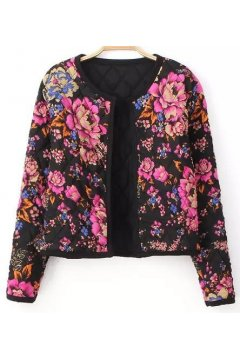 Black Quilted Floral Flowers Tribal Retro Vintage Pattern Cropped Long Sleeves Jacket