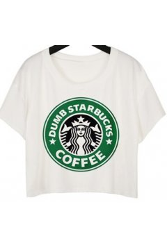 GrabMyLook White Coffee Queen Cropped Short Sleeves T Shirt