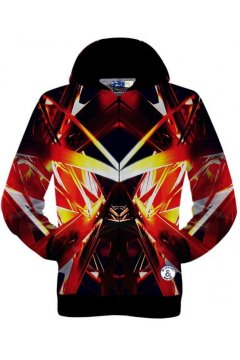 Red Fiery Triangle Long Sleeves Mens Jacket Hooded Hoodies