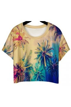 GrabMyLook Colorful Palm Coconut Trees Cropped Short Sleeves T Shirt
