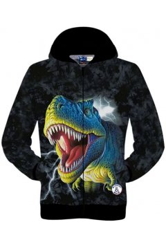 Black Dinosaurs T-Rex Fierce Long Sleeves Mens Jacket Hooded Hoodies