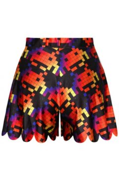 GrabMyLook Black Red Pacman Cartoon Pixels Skirt Shorts Hot Pants