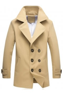 Mens Woolen Long Sleeves Parka Dapper Man Trench Coat Jacket
