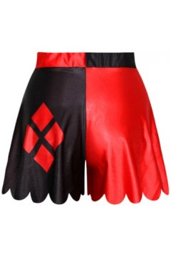 GrabMyLook Black Red Combination Skirt Shorts Hot Pants