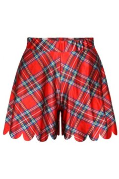 GrabMyLook Blue Red Quilt Skirt Shorts Hot Pants