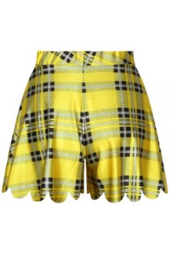 GrabMyLook Black Yellow Quilt Skirt Shorts Hot Pants