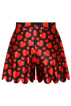 GrabMyLook Black Red Hearts Love Skirt Shorts Hot Pants