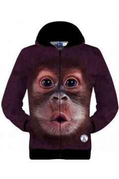 Purple Monkey Ape Face Long Sleeves Mens Jacket Hooded Hoodies