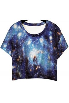 GrabMyLook Dark Blue Night Sky Galaxy Cropped Short Sleeves T Shirt