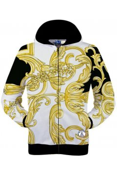 White Gold Leaves Print Long Sleeves Mens Jacket Hooded Hoodies