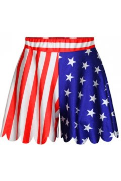 GrabMyLook Red Blue Stripes USA Flag Skirt Shorts Hot Pants