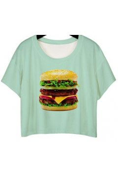 GrabMyLook Turquoise Green Cheese Burger Cropped Short Sleeves T Shirt