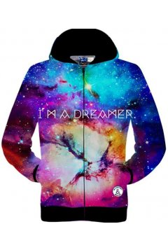 Dark Blue Dreamer Galaxy Night Sky Stars Long Sleeves Mens Jacket Hooded Hoodies
