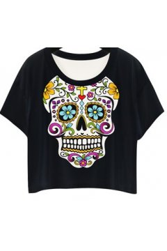 GrabMyLook Black White Artistic Skull Cropped Short Sleeves T Shirt