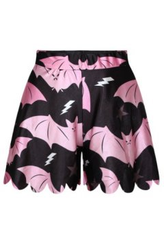 GrabMyLook Black Pink Bats Skirt Shorts Hot Pants