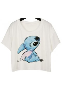 GrabMyLook White Lilo Stitch Cartoon Cropped Short Sleeves T Shirt