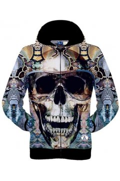 Colorful Giant Skull With Glasses Punk Rock Funky Long Sleeves Mens Jacket Hooded Hoodies