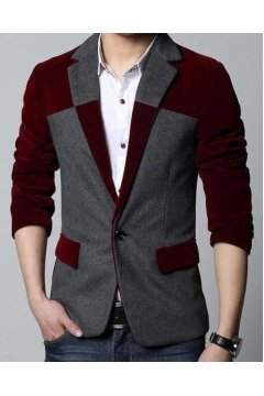​Grey Burgundy Woolen Velvet Mens Dapper Man Long Sleeves Blazer Jacket