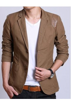 ​Brown Beige Canvas Casual PU Faux Leather Mens Dapper Man Long Sleeves Blazer Jacket