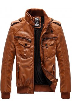 Orange Brown Faux Leather PU Fleece Mens Rider Aviator Baseball Cropped Coat Jacket