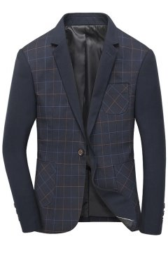 ​Blue Checkers Mens Dapper Man Long Sleeves Blazer Jacket