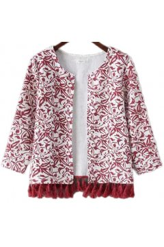​White Red Vintage Retro Tassels Cropped Long Sleeves Blazer Jacket
