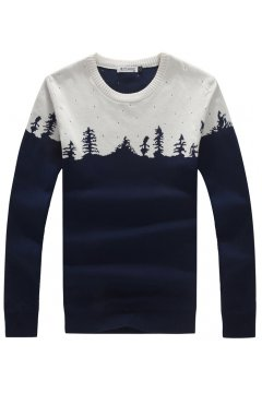 Black Grey Forest Shadow Long Sleeves Men Knit Long Sleeves Sweater
