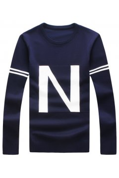 Black Blue Giant N Long Sleeves Men Knit Long Sleeves Sweater