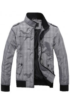 Mens Grey Checkers Plaid Tartan Standing Collar Rider Aviator Baseball Cropped Coat Jacket