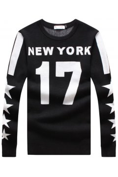 ​Black 17 Stars New York Long Sleeves Men Knit Long Sleeves Sweater