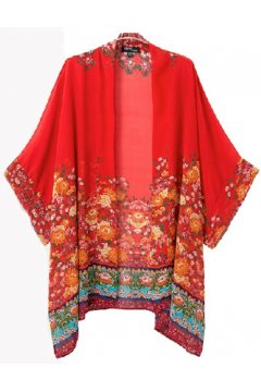 Red Tribal Ethnic Pattern Bat Wing Sleeves Loose Fit Chiffon Kimono Cardigan
