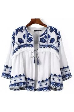 ​White Blue Retro Embroidery Tassels Cropped 3/4 Sleeves Blazer Jacket