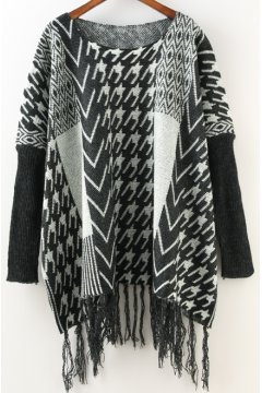 Black White Houndstooth Checkers Tassels Long Sleeves Cape Cardigan Sweater