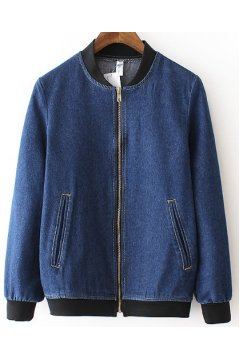 GrabMyLook Blue Denim Washed Vintage Jeans Baseball Aviator Bomber Rider Jacket