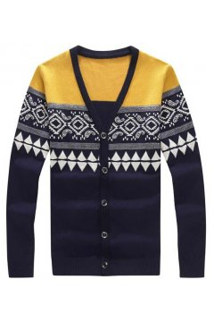 Vintage Pattern Yellow Grey Long Sleeves Men Knit Long Sleeves Sweater Cardigan