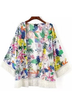 White Colorful Flowers Tassels Bat Wing Sleeves Loose Fit Chiffon Kimono Cardigan