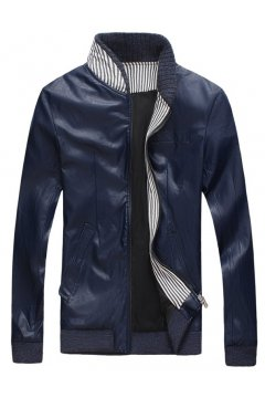 Faux Leather Standing Collar PU Mens Rider Aviator Baseball Cropped Coat Jacket