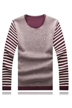 Black Blue Burgundy Stripes Long Sleeves Men Knit Long Sleeves Sweater