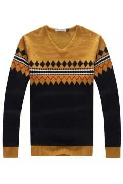 ​Beige Black Yellow Tribal Retro Pattern Long Sleeves Men Knit Long Sleeves Sweater