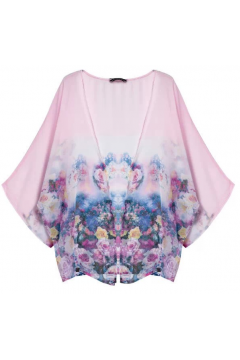 Pink Roses Bat Wing Sleeves Loose Fit Chiffon Kimono Cardigan
