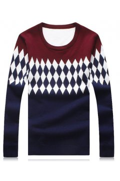 ​Burgundy Blue Diamonds Pattern Long Sleeves Men Knit Long Sleeves Sweater