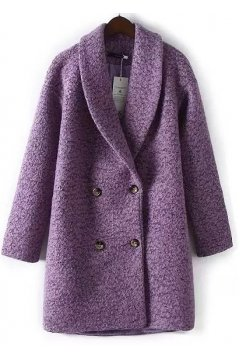 Purple Long Sleeves Woolen Jacket Blazer Coat