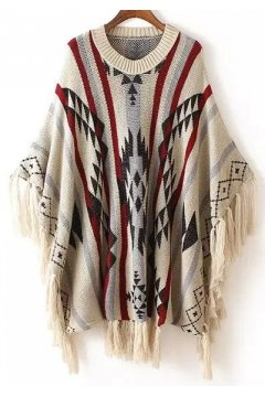 Blue Cream Stars Tribal Ethnic Pattern Tassels Long Sleeves Cape Cardigan Sweater
