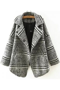 White Black Houndstooth Checkers Long Sleeves Woolen Jacket Blazer Coat