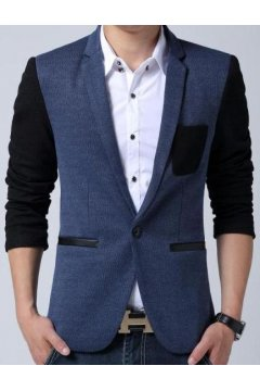 Blue Black Casual Mens Dapper Man Long Sleeves Blazer Jacket