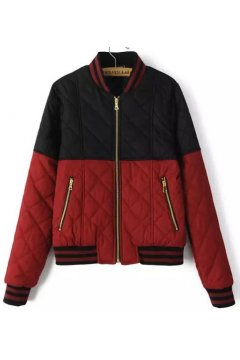 Black Red Grey Quilted Zipper Rider Aviator Bomber Baseball Jacket