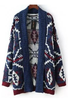 Blue Tribal Ethnic Pattern Long Sleeves Blouse Cardigan